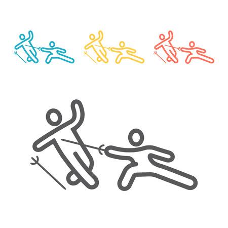 Swordsman line icon. Vector sign for web graphics Illustration