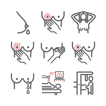 Breast examination line icons. Vector signs for web graphics.