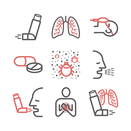 Asthma banner. Symptoms. Asthma line icons. Vector signs for web graphics.