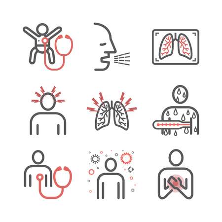 Pneumonia. Symptoms, Treatment. Line icons set. Vector signs for web graphics