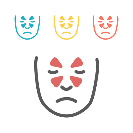 Sinusitis. Line icons set. Vector signs for web graphics.