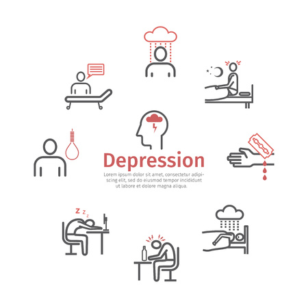 Depression infographics banner. Symptoms, Treatment. Line icons set. Vector signs for web graphics.