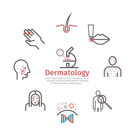 Dermatology. Line icons set. Vector signs for web graphics