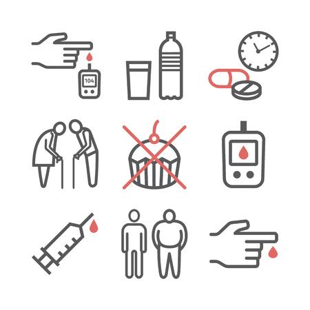 Diabetes Mellitus line icons. Symptoms and Symbols.