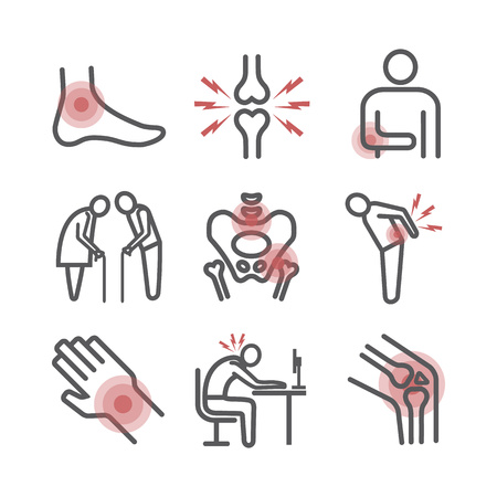 Joint pain. Flat icons set. Vector signs for web graphics. Reklamní fotografie - 124897183