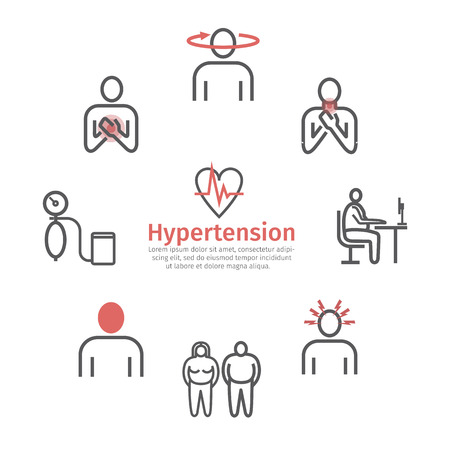 Hypertensie. Symptomen. Lijn pictogrammen instellen. Vectortekens voor webafbeeldingen Vector Illustratie