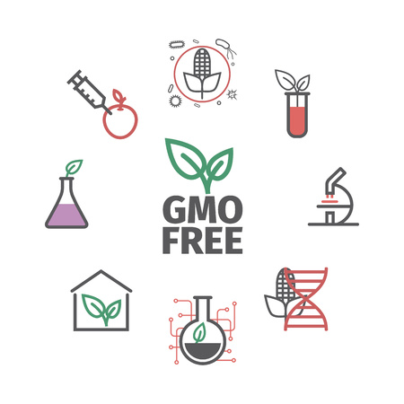 GMO. Genetically modified organism. Line icons set. Vector signs for web graphics Archivio Fotografico - 124897186