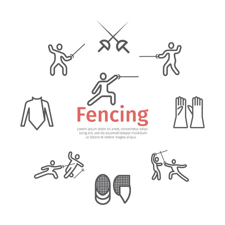 Fencing line icons set. Vector signs for web graphics. Infographics Иллюстрация