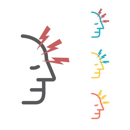 Headache. Line icons. Symptoms Vector signs for web Archivio Fotografico - 124897191