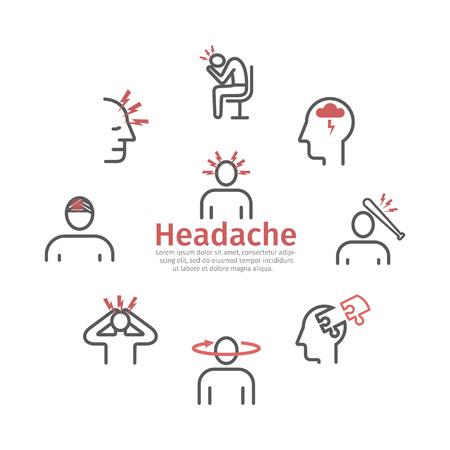 Headache icons. Symptoms. Vector signs for web graphics Archivio Fotografico - 124897192
