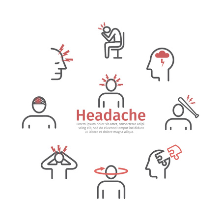 Headache icons. Symptoms. Vector signs for web graphics