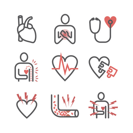 Angina pectoris icons. Symptoms. Vector signs for web graphics. Illustration