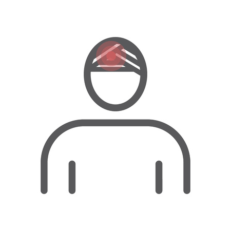 Head Injury line icon. Vector illustration for websites, magazines, brochures