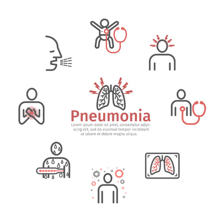 Pneumonia. Symptoms, Treatment. Line icons set. Vector signs for web graphics