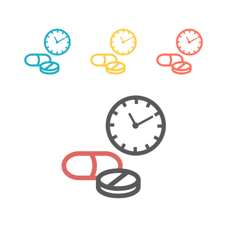 Pharmacy time logo. Line icon. Vector sign for web graphic