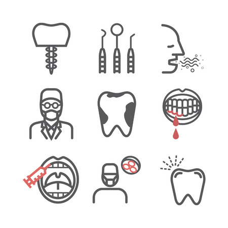 Dental Health line icons set. Reception at the dentist. Vector signs for web graphics. Stock Vector - 124774007