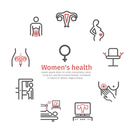 Women Health banner. Line icons set. Vector signs for web graphics.