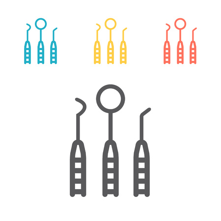dentist tools line icons. Vector signs for web graphics