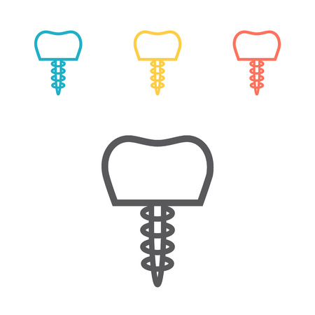 Dental implant line icon. Vector signs for web graphics. Illustration