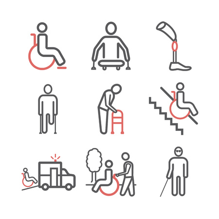 Disabled People line icons set isolated. Care Help and Accessibility. Vector illustration