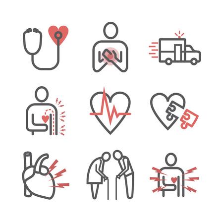 Icona di infarto miocardico. Icone impostate. Segni di vettore per la grafica web. Vettoriali