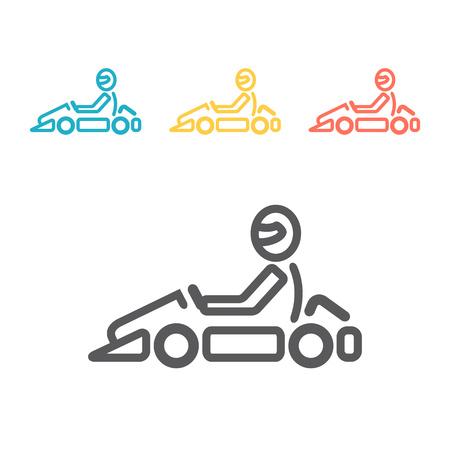 Logotipo y símbolo de karting de línea vectorial. Vaya etiqueta e insignia del kart. Logos