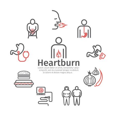 Heartburn. Symptoms, Treatment. Line icons set. Vector signs for web graphics.