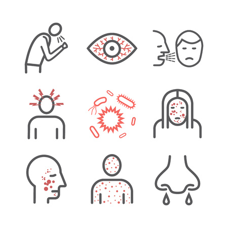 Measles. Symptoms, Treatment. Line icons set. Vector signs for web graphics