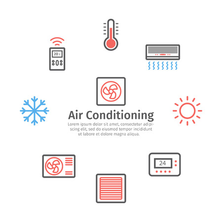 Ventilation and conditioning. Climate control icon set. Vector signs for web graphics Vetores