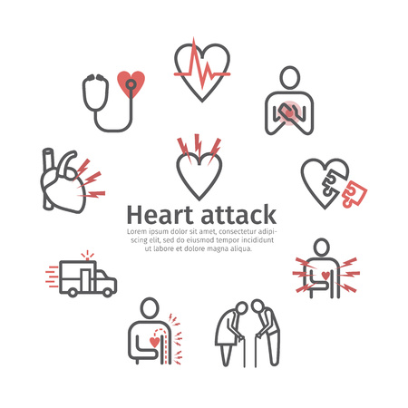Myocardial infarction icon. Icons set. Vector signs for web graphics.