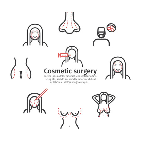 Cosmetic surgery banner. Elements of infographics. Breast augmentation signs. Vector symbols
