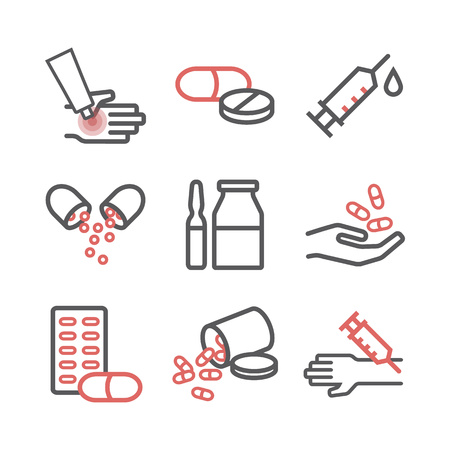 Medications. Medical supplies line icons set. Vector sign