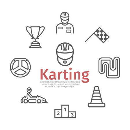 Karting banner. Line icon set. Speed racing signs. Vector illustration. 矢量图像