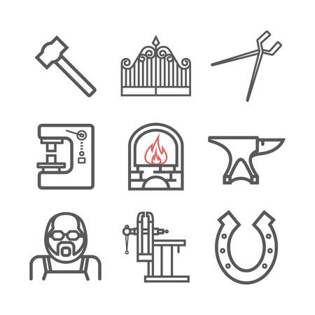 Blacksmith icons set. Vector signs for web graphics Ilustração