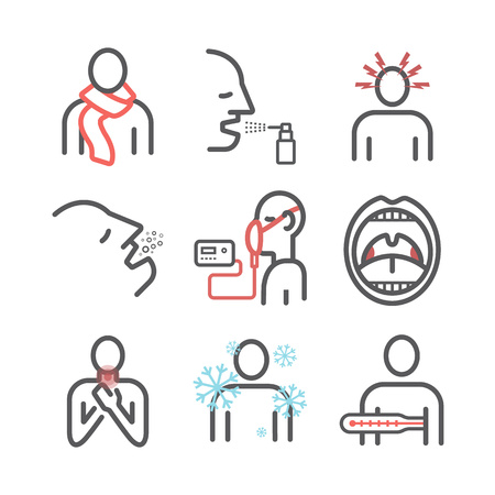 Laryngitis. Symptoms, Treatment. Icons set Vector signs for web graphics 일러스트