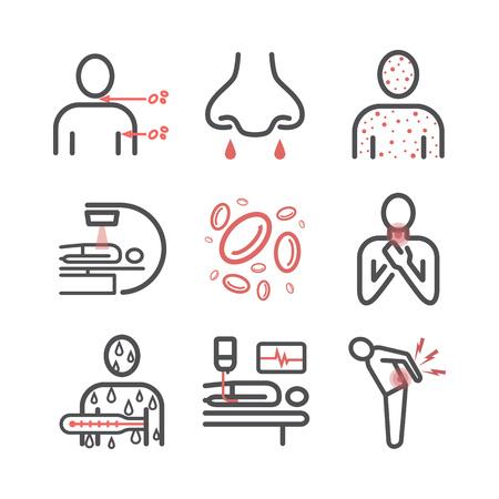 Leukemia symptoms. Symptoms, Treatment. Line icons. Vector signs. Vektorové ilustrace