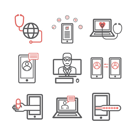 Diagnostic et traitement en ligne. Infographie de consultation médicale virtuelle. Icônes de ligne vectorielle. ensemble d'infographie.