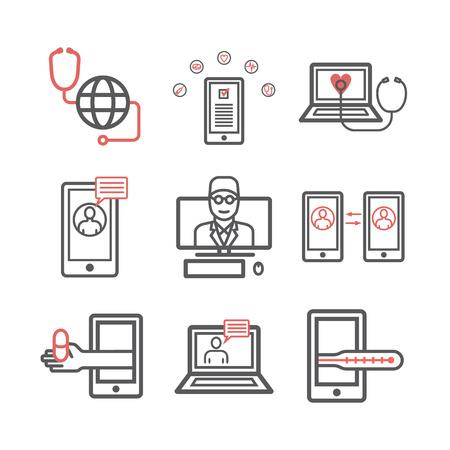 Online-Diagnose und -Behandlung. Infografik zur virtuellen medizinischen Beratung. Vektorliniensymbole. Infografik-Set.