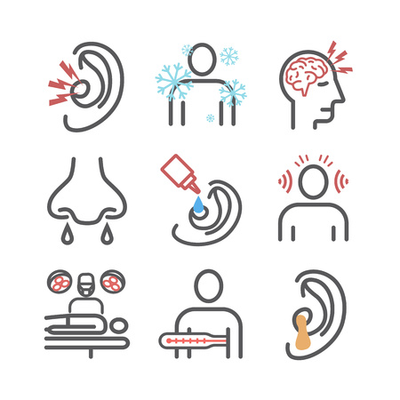 Otitis. Symptoms, Treatment. Line icons set. Vector signs for web graphics