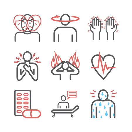 Panic disorder line icon infographic. Vector sign for web graphics Vector Illustration