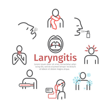 Laryngitis. Symptoms, Treatment. Icons set Vector signs for web graphics Illustration