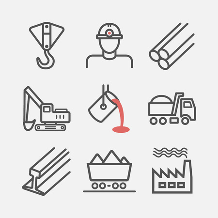 Metallurgy. Line icons. Vector signs for web graphics.