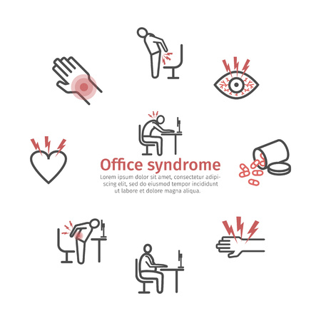 Office syndrome infographic. Symptoms and causes. Line icons set. Vector signs for web graphics. Vector Illustration