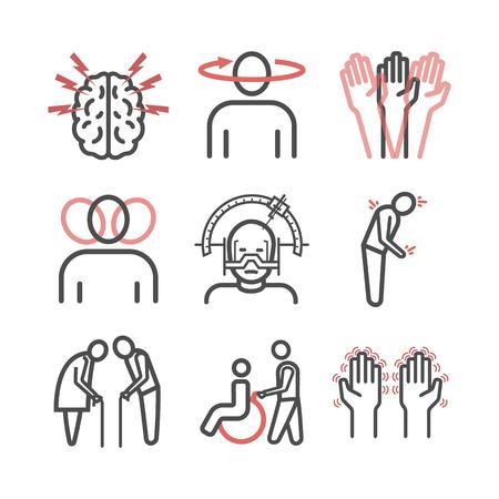 Morbo di Parkinson. Sintomi, trattamento. Set di icone di linea. Segni di vettore.