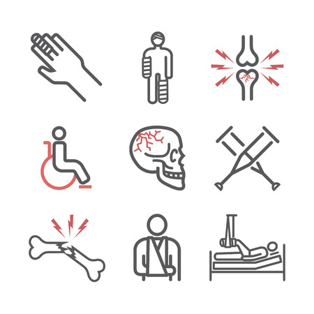 Bone Fractures line icons. Treatment. Vector signs for web graphics
