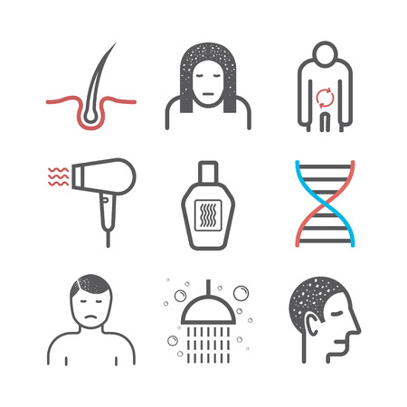 Dandruff. Line icons set. Vector signs for web graphics.