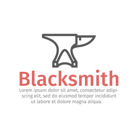 Blacksmith vector icon. Anvil and Hammer line sign