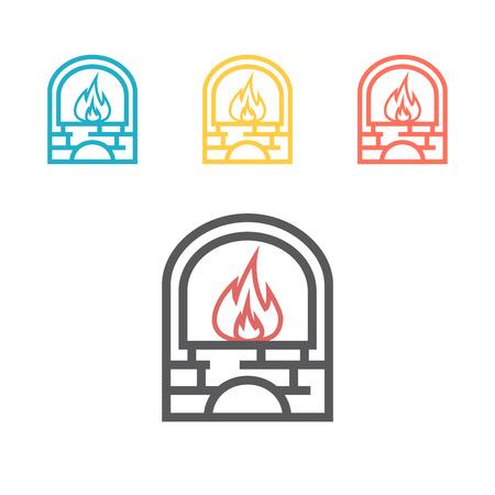 Blacksmith oven icon. Outline blacksmith oven vector icon for web design isolated on white background.