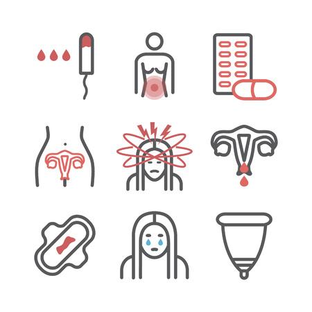 Menstruation. Liniensymbole. Vektorzeichen für Webgrafiken.