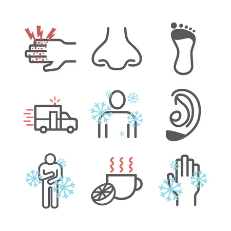 Frostbite. Symptoms, Line icons set. Vector signs for web graphics.